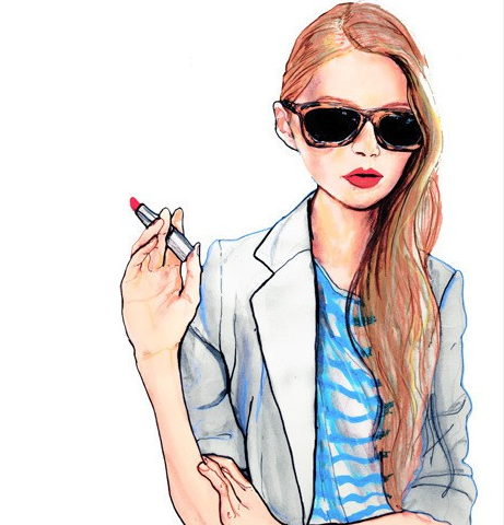 sunglasses and lipstick