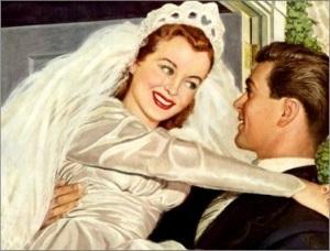vintage_bride_and_groom_happy_newlyweds_postcard-p239955201995983054envli_400